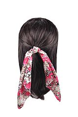 Peony Floral Printed Ribbon Hair Tie Bands