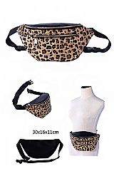 Double Zipper Leopard Ultimate Fashion Print Waist Fanny Bag