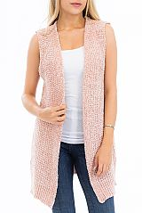 Duo Toned Thick Chenille Casual Chic Cardigan Vest