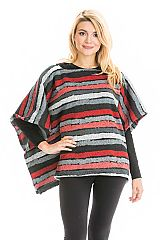 Multicolored Distressed Striped and Striped Throw Over Poncho