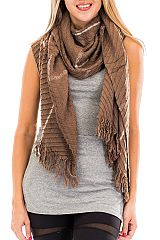 Ribbed Textured Single Lined Printed Oblong Scarves