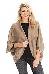 Casual Solid Colored and Collared Ribbed Knit Shrugged Shawl