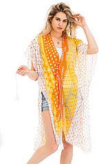 Gold Chains and Polka Dot Printed Kimono Styled Cover Up with Ties