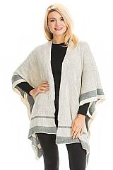 Solid Colored and Striped Hem Open Silhouette Poncho
