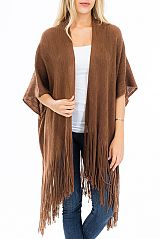 Solid Ribbed Knit Fringed Poncho