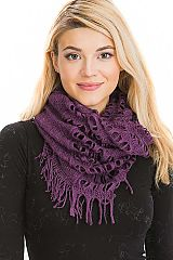 Solid Colored Web Stitched Knit Oblong to Infinity Scarf Convertible