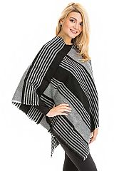 Two Tone Herringbone Patterned and Striped Ribbed Knit Frayed Hem V-Neck Poncho