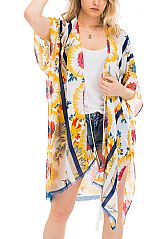 Sunflower and Daisy Floral Printed Kimono Styled Cover Up with Ties