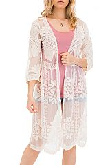 Paisley and Sunflower Floral Lace Kimono Styled Long Cardigan
