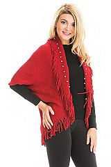 Faux Pearl Accented Ribbed Knit Fringed Hem Shrug Shawl
