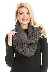 Solid Colored Turtle Neck Collared Ribbed Knit Infinity Scarves