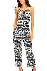 Detailed Elephant Print Summer Jumpsuit