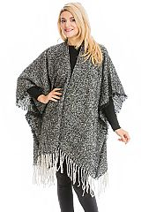 Casual Chic Two Tone Frayed Blanket Shawl Open Silhouette Poncho