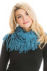 Solid Colored Web Stitched Knit Fringed Infinity Scarves