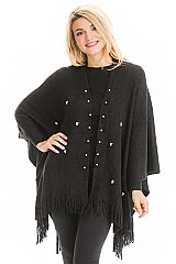 Faux Pearl Accented Ribbed Knit Slit Side Open Silhouette Poncho