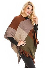 Color Blocked and Frayed Ribbed Knit Throw Over Poncho