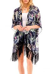 Tropical Colorful Jungle Leaves Chiffon Breezy Kimono cover Up