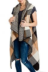 Block Checkered and Plaid Pattern Super Softness Thick Cashmere Feel Long Sleeveless  Cardigan Style