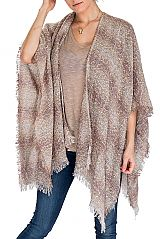 Striped Tie Dye Tone Soft Open with Vintage Fringe Design Poncho
