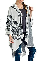 Paisley Pattern Knitted Dip Dyed Cashmere Feel Super Softness Fabric with Natural Fur Design Poncho