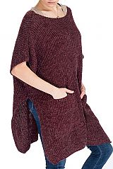 Ribbed Knit Basic Arm Hole Throw Over Poncho