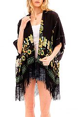 Vibrant Boho Florals Stitched Pattern Printed Kimono Cover Up