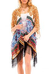 Colorful & Antique Boho and Chic Paisley Pattern Printed Semi Sheer Kimono Top
