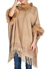 Mandala Pattern Neckline and wrist Faux Fur Softness Knitted Long Fringe Poncho with Three Button
