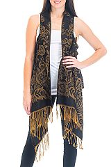Paisley Patterned Pashmina Long Vest