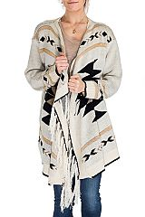 Aztec Pattern Knitted Golden Shimmer Threaded Sleeve Style Poncho