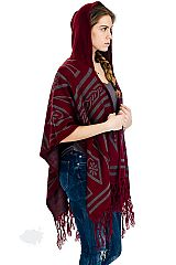 Cashmere Feel Aztec Pattern with Hooded  Fringe Big Poncho
