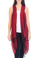 Floral and Aztec Patterned Fringed Pashmina Long Vest
