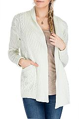Cable and Striped pattern Women's Sweater Long Sleeve Cardigan With Pocket