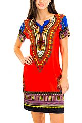 Tribal Inspired Printed Strappy Kaftan Boho Dress Top