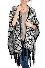 Multiple Squared With Abstract PRint Thick Super Soft Poncho With Fringe Trimmings