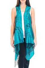 Over Sized Paisley and Leaves Printed Two Tone Fringed Pashmina Long Vest