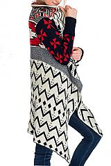 Colorful Thick Multiple Print With Sleeves Poncho