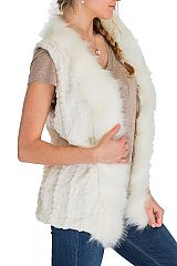 Long Brushed Puffed Up Box Patterned Faux Fur Vest with Extra Fur