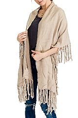 Hand made Fringe Design Casual Knit Versatile Shawl & Wrap