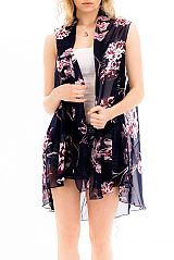 Botanical Garden Florals Chic Chiffon Sheer Breezy Cover Up Vest Kimono