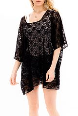 Infinite Daisy Mesh Lace Pattern Cover Up Top