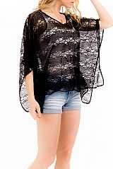 Distorted Heart Meshed Lace All Sleek Black Laced Kimono Top