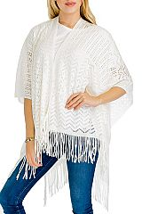 Missoni Pattern Hole Design Knitted with fringe Softness  Poncho
