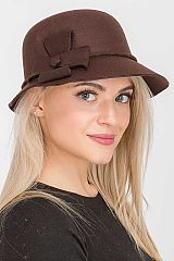 Double Monochromatic Bow Accented Trimmed Felt Bucket Hat