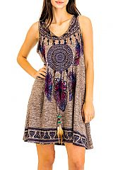 Dream Catcher Native Print Pattern Printed and Colored Top Dress