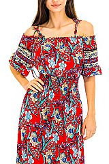 Strapless Colorful Vibrant Exotic Leaves Summer Maxi Dress