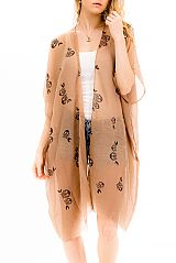 Bohemian Novelty Owl On A Branch Cardigan Kimono Cover Up