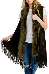 Faux Fur Trimmed Open cardigan Style Vest with Fringe