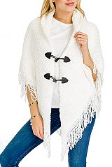 Extra Soft Boho Patterned & Knit Slouchy Poncho with Toggle Buttons for Closure