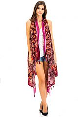 Soft Cotton Un Stitched Distressed Vibrant Mandala Print Cover Up Vest